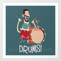 drums Art Prints featuring Drums! by soy8bit