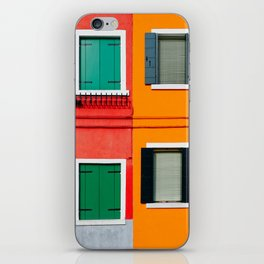 Burano details, windows on red and orange walls iPhone Skin