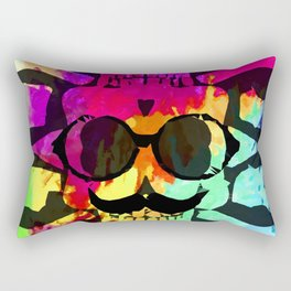 old vintage funny skull art portrait with painting abstract background in red purple yellow green Rectangular Pillow