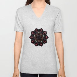 Lotus flower mandala in soft pastel colors Unisex V-Neck