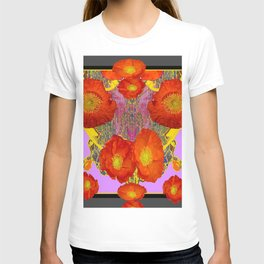 Modern Art  Orange Poppy Flowers & Lilac Color Grey Art T-shirt