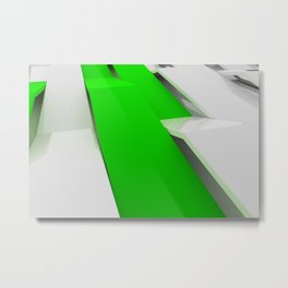 White plastic waves with green elements Metal Print