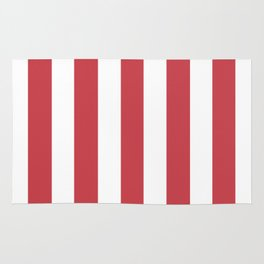 Strawberry red pink - solid color - white vertical lines pattern Rug