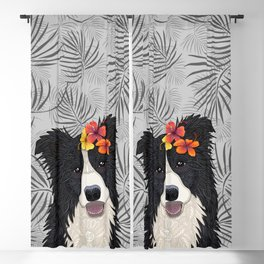 Happy Border Collie with Flowers Blackout Curtain