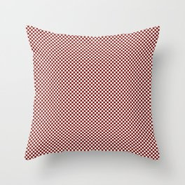 Vintage New England Shaker Barn Red and White Milk Paint Small Square Checker Pattern Throw Pillow
