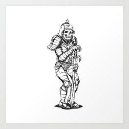 knight skeleton - warrior illustration - skull black and white Art Print
