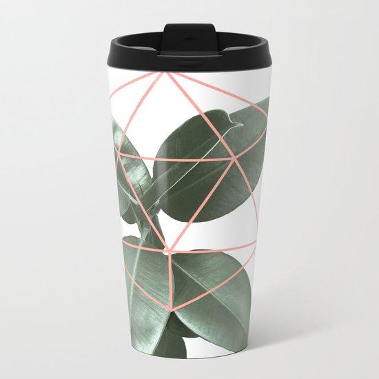 Geometric greenery Metal Travel Mug