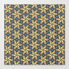 Flower Pattern Yellow/Blue Canvas Print