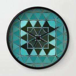 blue green shape Wall Clock