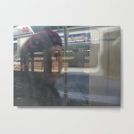 On Subway Metal Print