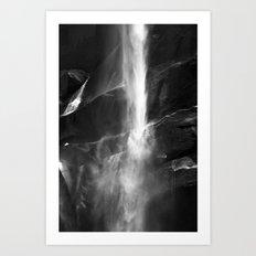 Yosemite National Park - Vernal Falls Black and White Art Print