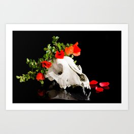 Animal skull with a wreath of wild flower Art Print