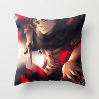levi Throw Pillows featuring Levi by 1MI0