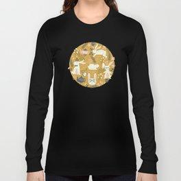 Bunnies + Teapots in Gold Long Sleeve T-shirt