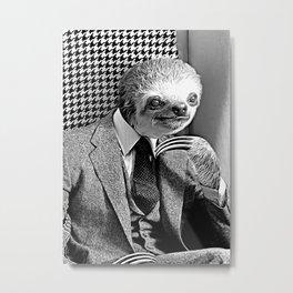 Gentleman Sloth Sitting Metal Print