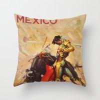 mexico Throw Pillows featuring MEXICO by Kathleen Casey