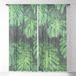 Monstera leaf jungle pattern - Philodendron plant leaves background Sheer Curtain