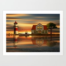 The idyll at the house of the lighthouse keeper Art Print