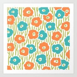 Mid Century Modern Wild Flowers Turquoise and Orange 391 Art Print