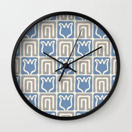 Mid Century Flower Garden Pattern 381 Blue and Grey Wall Clock