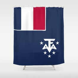 French Sourthern and Atlantic Lands flag emblem Shower Curtain