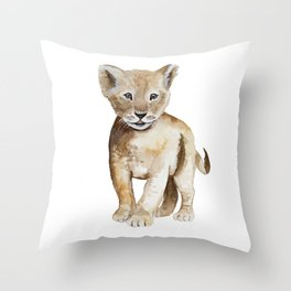 Baby lion watercolor Throw Pillow
