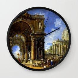 Giovanni Paolo Pannini Masterpiece: Circe Entertaining Odysseaus at a Banquet Wall Clock