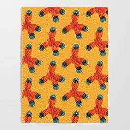 Orange Methane Molecule Poster