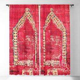 Ottoman  Antique Ushak Turkish Niche Kilim Print Blackout Curtain