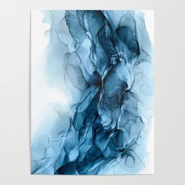 Deep Blue Flowing Water Abstract Painting Poster