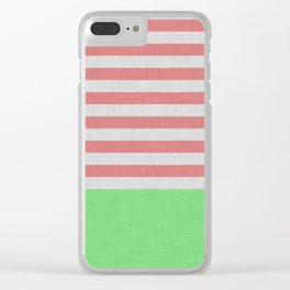 Orange and green stripes and color block Clear iPhone Case