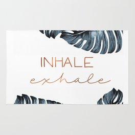 Inhale Exhale, Monstera Leafs, copper Rug