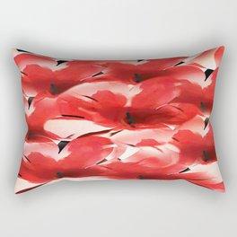 Red Poppies - Painterly Rectangular Pillow