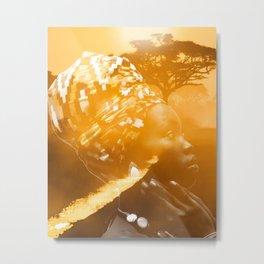 African portrait yellow Metal Print
