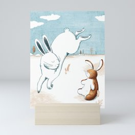 Jumping hare Mini Art Print
