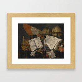 Edwaert Collier BREDA 1642 - 1708 LONDON,  VANITAS STILL LIFE WITH A CANDLESTICK, MUSICAL INSTRUMENT Framed Art Print