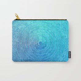 Light Blue Floral Circle Mandala Carry-All Pouch