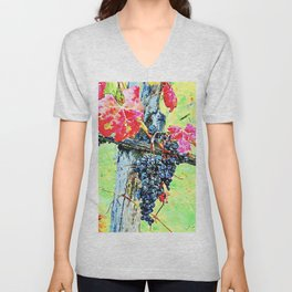Hortus Conclusus: bunch of black grapes with red leaves Unisex V-Neck