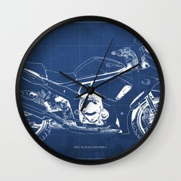 Suzuki blueprint, motorcycle drawing, whit and blue, vintage poster Wall Clock