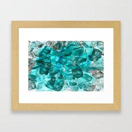 Turquoise Glass Chrystal Abstract Framed Art Print