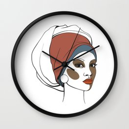 African American woman in headscarf with makeup. Abstract face. Fashion illustration Wall Clock