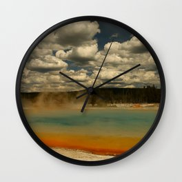 Sunset Lake Under A Cloudy Sky Wall Clock