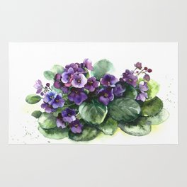 Senpolia viola violet flowers watercolor Rug