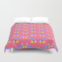 skateboard Duvet Covers featuring Skateboard chevron print by Oh Monday