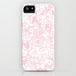 Pastel pink white henna hamsa Hand of Fatima floral mandala iPhone Case