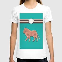 Teal and Orange Lion Stripes Animal Design Pattern T-shirt