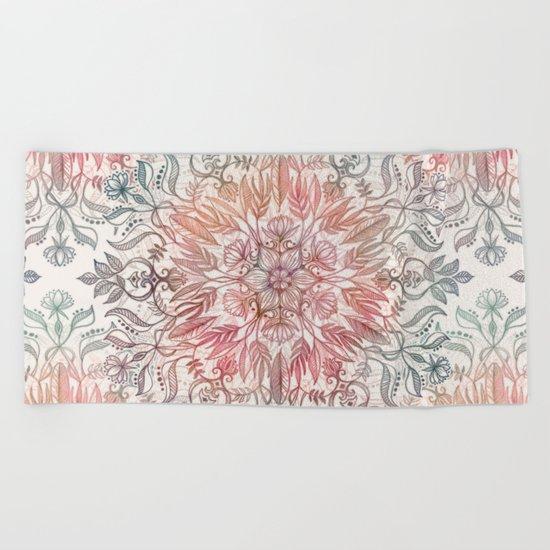 Autumn Spice Mandala in Coral, Cream and Rose Beach Towel