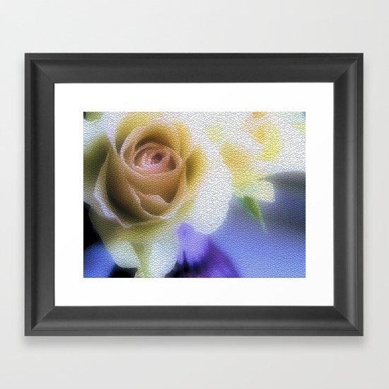 Old Love Gentle Rose - Pastel Vintage Mosiac Framed Art Print