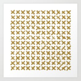 Minimalist Brush Strokes X Gold Art Print