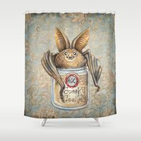 cookies Shower Curtains featuring Bat Cookies by Patrizia Ambrosini